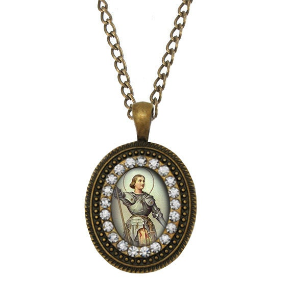st joan of arc catholic necklace religious catholic pendant