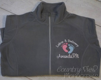 Labor and Delivery Nurse Fleece Jacket with FootPrints -RN LPN zipup light weight fleece jacket with several color options