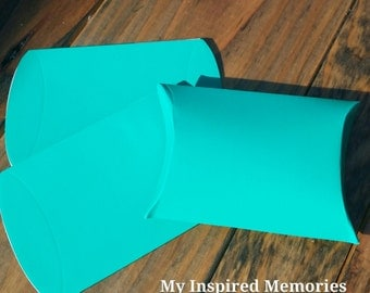 6 aqua  party favor boxes, aqua  favor boxes, aqua  favor pillow boxes