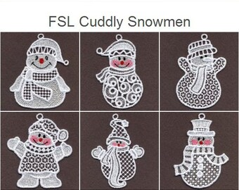 FSL Cuddly Snowmen- Free Standing Lace Machine Embroidery Designs Instant Download 4x4 hoop 10 designs SHE5130