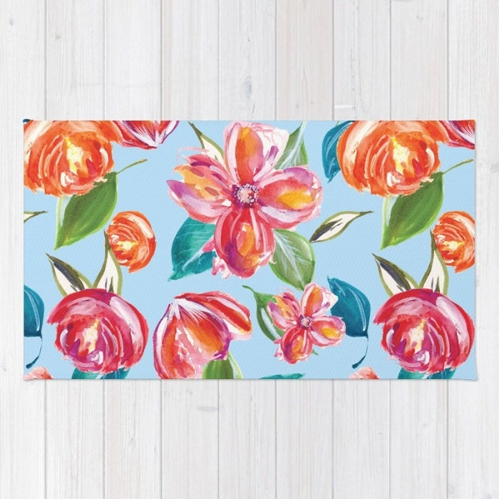 Blue Floral Area Rug Modern Flowers Print Tropical Flowers