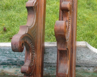 Vintage Hand Carved Wood Curtain Rod Hangers set of two