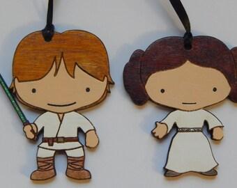 Star Wars Luke Skywalker & Princess Leia Christmas Ornament Set