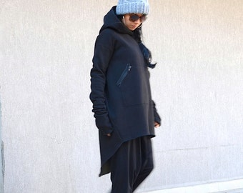 Oversize dress top, maxi hooded top, maxi hoodie, maxi top hoodie, extravagant blouse, asymmetric top, baggy top, loose jacket, black jacket