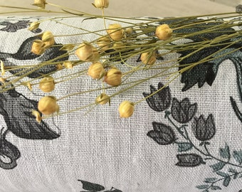Stonewashed Floral Linen Fabric - Dove Grey Linen for Bedspreads, Curtains- Dense Thick Linen-Medium Weight Linen