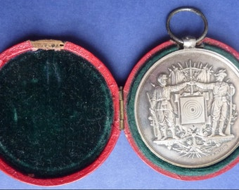 Large French Silver Military Shooting Prize Medal. Named & Dated 1889. Superb Condition In Case Of Issue