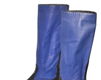 Vintage Estate Andrea Pfizer Blue Black Leather Boots Size 38.5