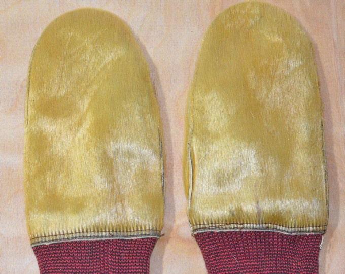 Vintage Estate Golden Brown Tan Fur Moderne Hansker Mittens