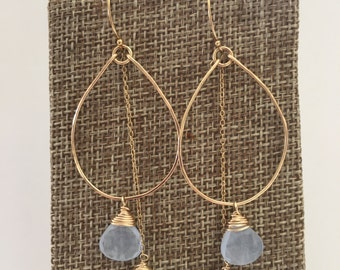 Light blue chalcedony earrings