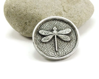 Dragonfly Button, Metal Shank Button, Metal Buttons, 25mm, Qty 3