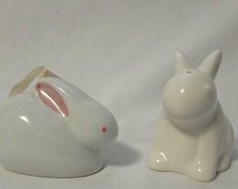 Salt and Pepper Set, Bunnies, White Porcelain Ceramic