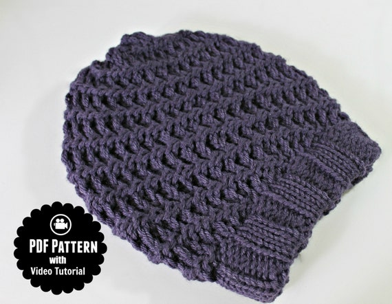 Basic Loom Knitting Instructions : Loom knitting pattern hat spiral slouchy with video by