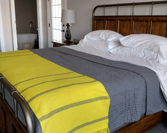 "Custom Bed Scarf - Bed Runner - King Size - ""Yellow  with Grey Stripe""."