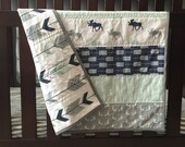 Woodland baby quilt, baby boy, nursery, moose and antlers, arrows, navy, mint, gray