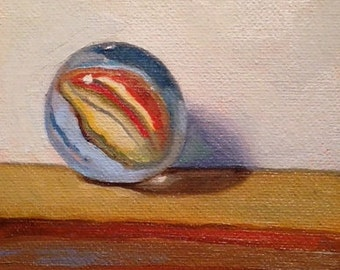"""Marble Swirl  4""""x6"""" Original Oil Painting by Renee Brennan Art (Framed) marble art, retro, marble painting, glass marble, retro toy,"""