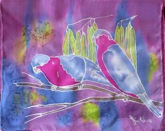 Australian birds silk scarf - Galahs