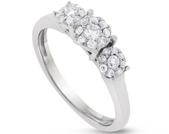 0.50 CT Keepsake Natural Diamond Illusion Set Triple Floral Ring in Sterling Silver