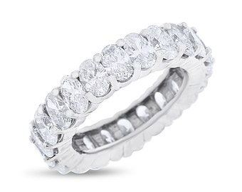 4.89 CT Natural Oval Diamond Eternity Band in Solid 14k White Gold