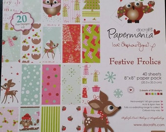 Papermania Festive Frolics 8x8 Printed paper pad. 40 sheets.     (was 4.99)