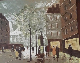 Vintage Acrylic Street Scene painting