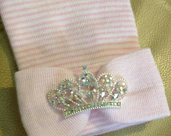 Newborn Hospital Hat EXCLUSIVE. Pink/White Hat with Pink Bow & Iridescent Rhinestone Tiara. Her Very 1st Tiara Keepsake! Cute!