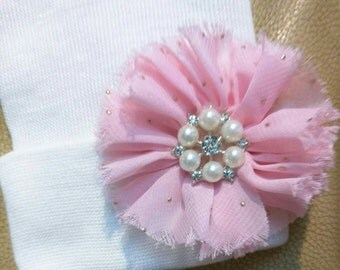 Solid White Newborn Hospital Hat w/ Pink Flower, Pearls and Rhinestones on it.  aDOrABle! Every Baby Should have! Beautiful