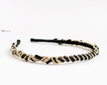 Gold and Black Beaded Headband, for parties, evening, special occasions, Beaded crown, Vintage style headband, Black hair accessory