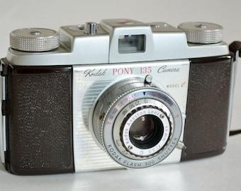 Kodak Pony 135 Model  C 35mm Camera with Leather Case