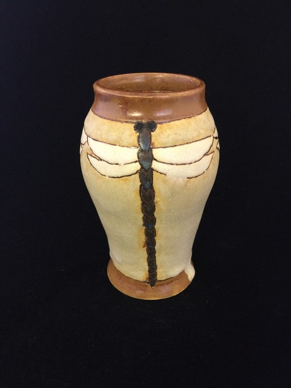 Dragonfly vase contemporary arts crafts mission style for Arts and crafts vases pottery