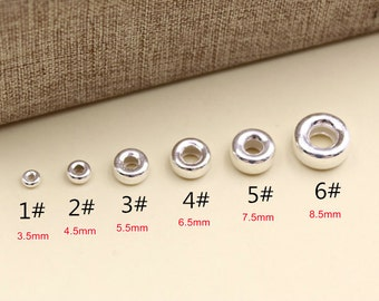 925 sterling silver flat bead spacer beads diy jewelry wholesale A004
