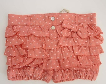 Short girl, Pants, Girls bloomers, shorts, Toddler clothes , Coral color, Fabric clipdot, Size 2,3,4,5