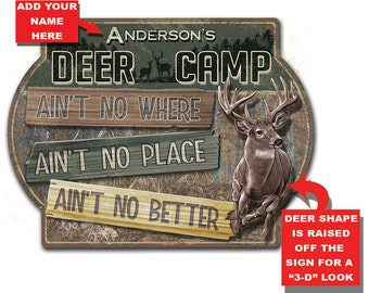 Personalized Deer Camp 3-D Hardboard Wall Sign