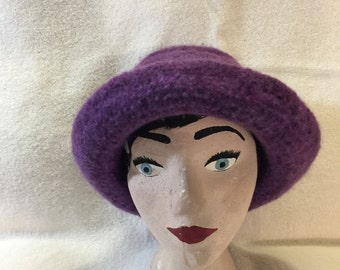 Purple strpped 100% wool felted hat