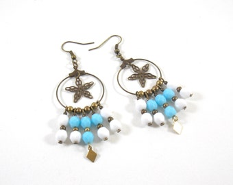 Earrings turquoise and white EJ in brass and glass Czech beads