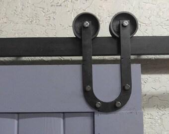 "Industrial/Classic Double Wheel ""U"" Style Sliding Barn Door Hardware"