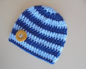 Crochet baby boy hat, blue baby hat, newborn boy hat, baby boy beanie, crochet newborn hat, baby boy hat,  striped baby hat