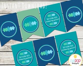 Missing Piece Blue Banner - Adoption - Baby Shower - Instant Download