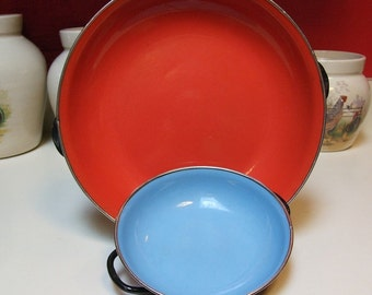 TWO Vintage Made In Yugoslavia Enamelware Skillet Saute Pans Bright Rose Red 35 Robin Egg Periwinkle Blue 15 Two Lions Logo Enamel Ware Nice