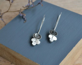 Tourmalinated Quartz + Sterling Silver Drop Earrings // Contemporary Silver Jewellery //