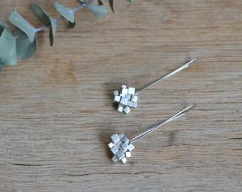 Sterling Silver Cube Cluster Drop Earrings