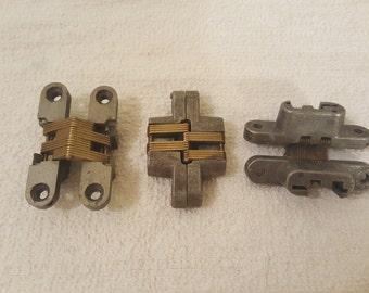 Vintage cabinet hinges, brass mechanism, Soss invisible hinge