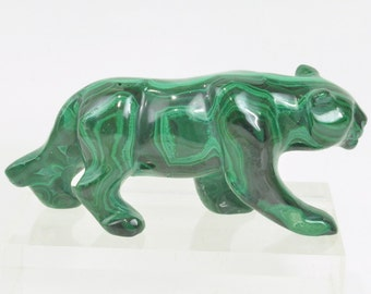 Malachite Cougar or Mountain Lion Carving