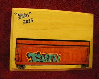 """Custom """"Faith"""" Freight Graffiti Plaque"""