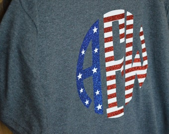 4th of July American Flag Red White & Blue Glitter Monogrammed Tee
