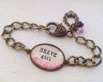 Brave girl personalized bracelet, personalized jewelry, brave bracelet, brave girl