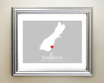 South Island Custom Horizontal Heart Map Art - Personalized names, wedding gift, engagement, anniversary date