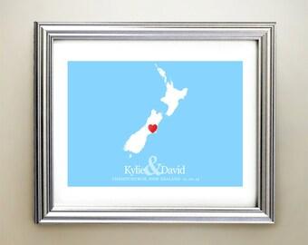 New Zealand Custom Horizontal Heart Map Art - Personalized names, wedding gift, engagement, anniversary date