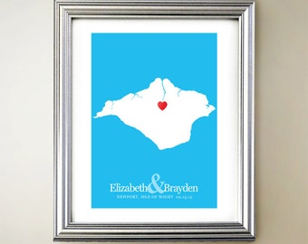 Isle of Wight Custom Vertical Heart Map Art - Personalized names, wedding gift, engagement, anniversary date