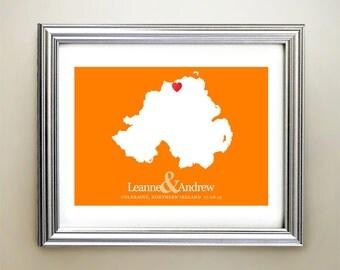 Northern Ireland Custom Horizontal Heart Map Art - Personalized names, wedding gift, engagement, anniversary date