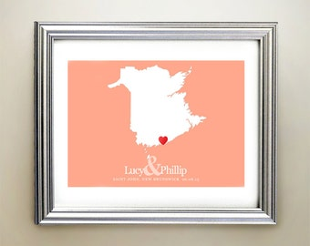 New Brunswick Custom Horizontal Heart Map Art - Personalized names, wedding gift, engagement, anniversary date